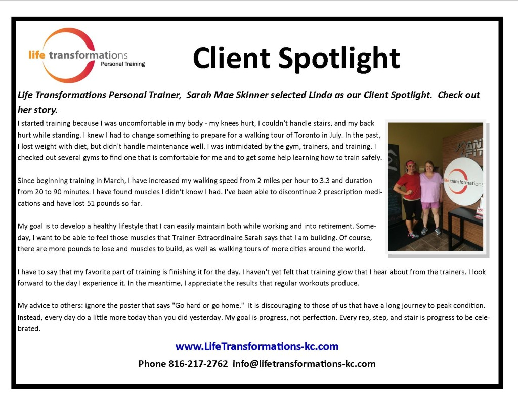 Life Transformations lees summit Personal training Client Spotlight linda Holland