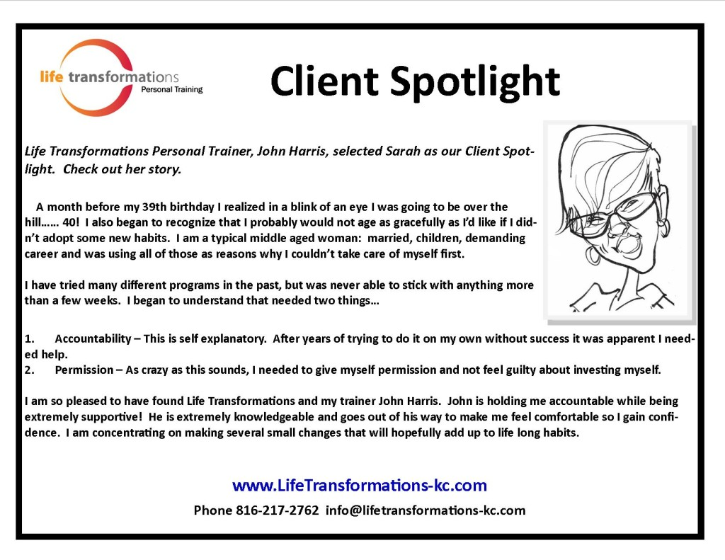 Life Transformations lees summit Personal training Client Spotlight sarah