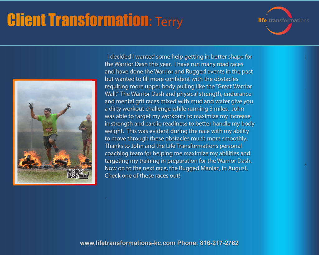 Life Transformations lees summit Personal training Lee's Summit client Terry