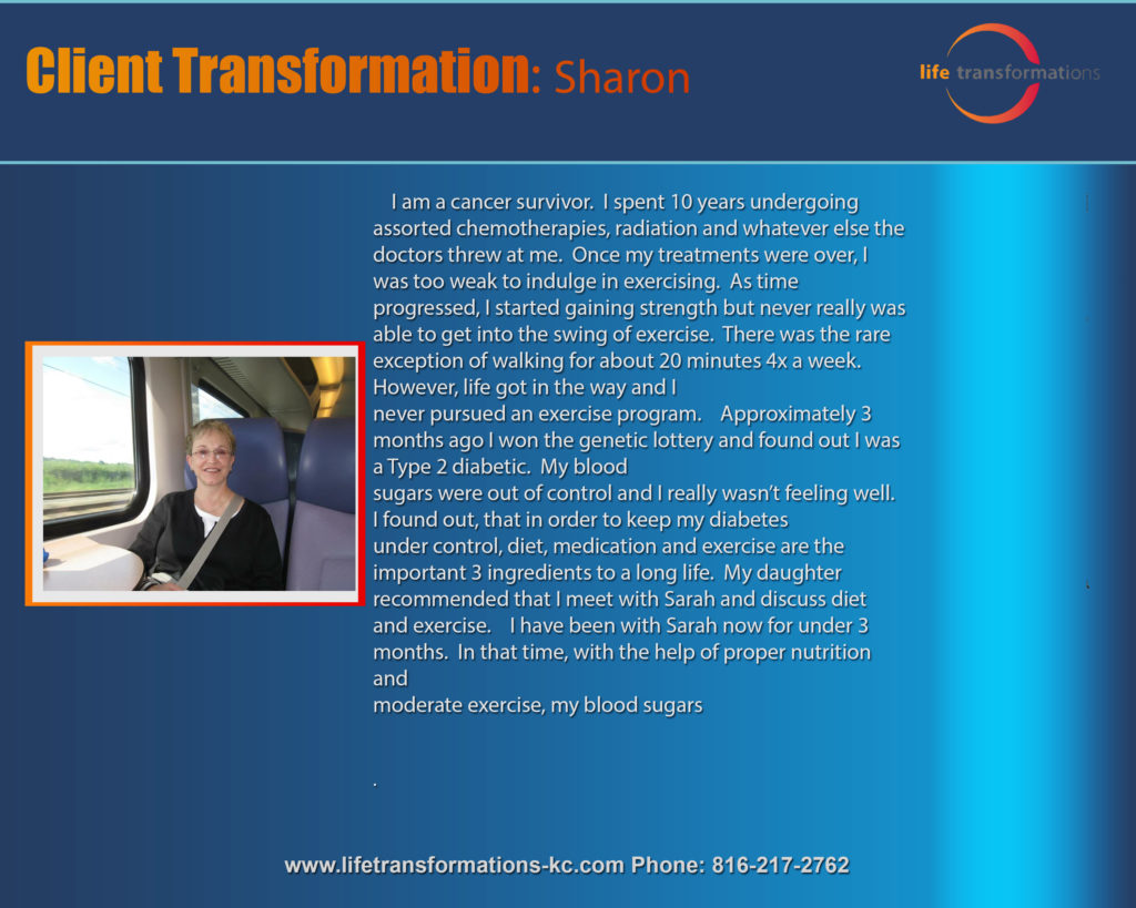 Life Transformations lees summit Personal training lee's summit client sharon
