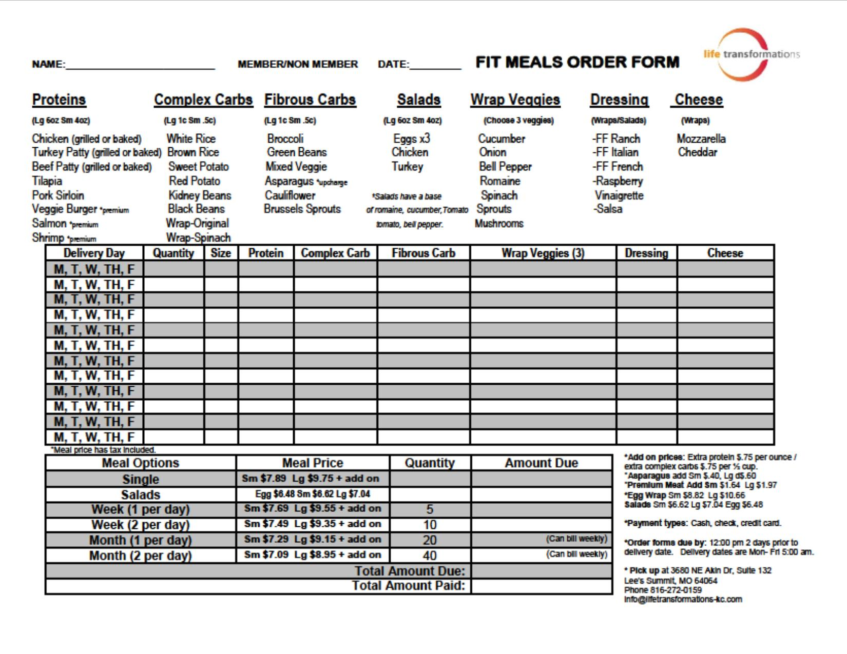 Fit meals life transformations for Food pre order form template