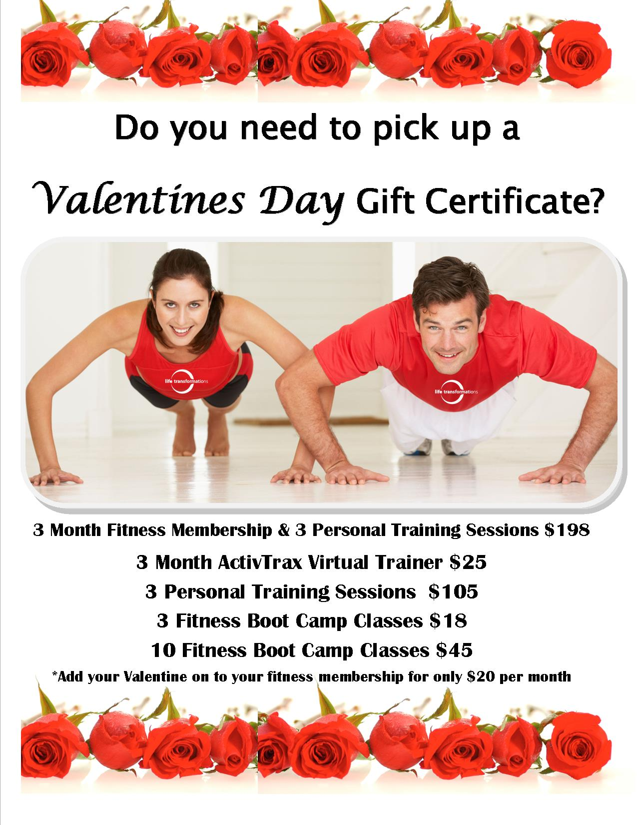 Fitness valentines gift certificates life transformations valentines day gift certificates post tagged with personal training xflitez Gallery