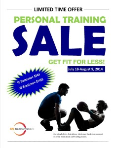 Life Transformations Fitness Personal Training Sale July 2014