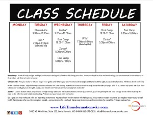 Life Transformations Fitness Class Schedule
