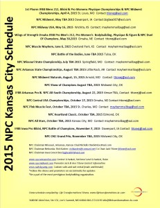 2015 NPC Kansas City Schedule