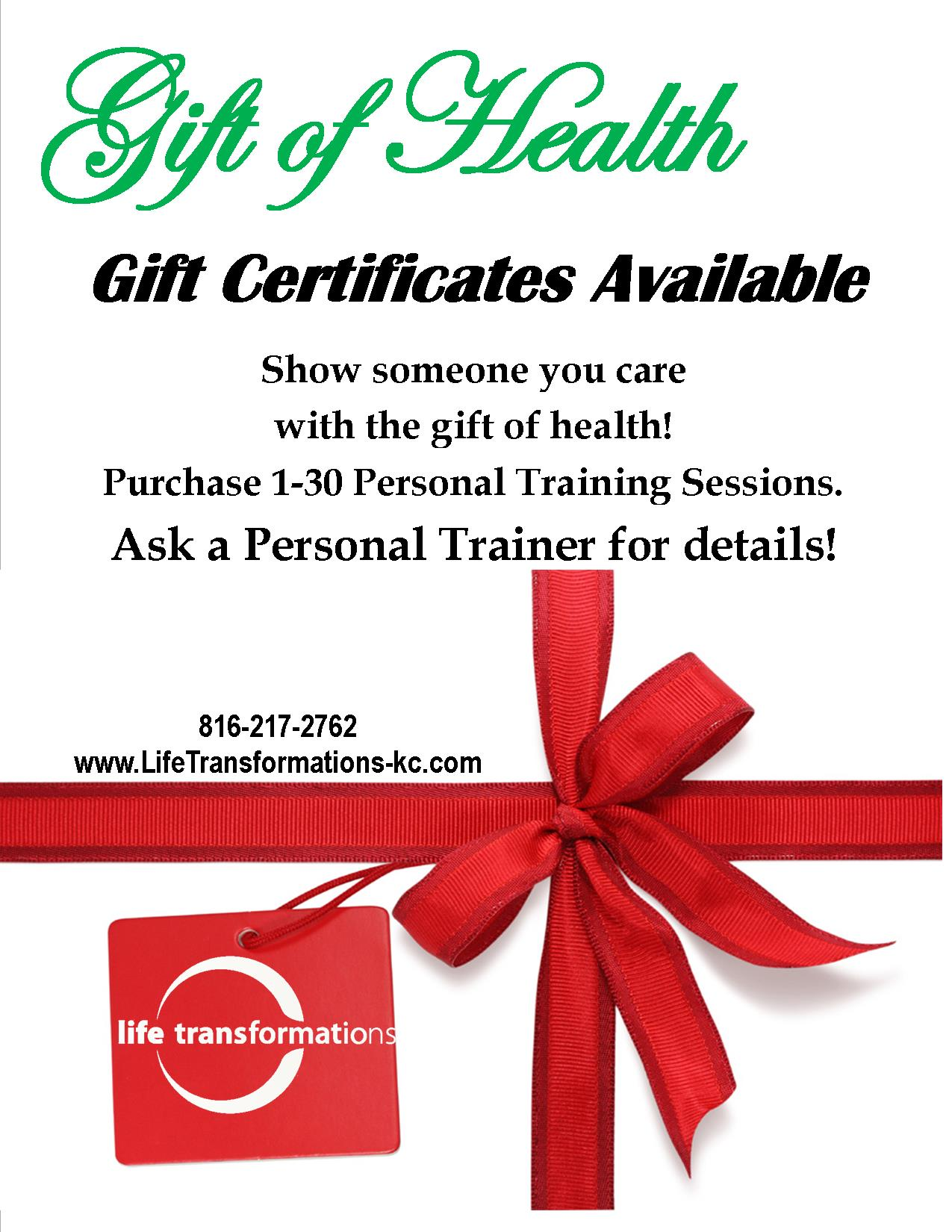 Personal training gift of health life transformations personal life transformations lees summit personal training holiday gift certificates xflitez Gallery