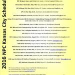 2016 NPC Kansas City bodybuilding, figure, fitness, bikini and physique Schedule