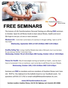 Life Transformations Personal Training free seminars October 2015